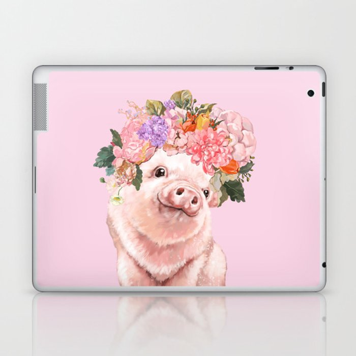 Baby Pig with Flowers Crown Laptop & iPad Skin