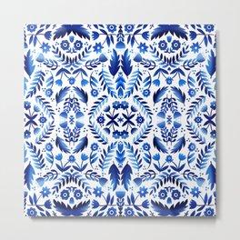 Folk Art Flowers - Blue and White Metal Print