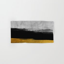 Black and Gold grunge stripes on modern grey concrete abstract backround I - Stripe - Striped Hand & Bath Towel