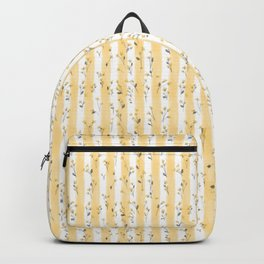 Buttercup Yellow Flower Blossoms on Butter Yellow Streaky Stripes Backpack