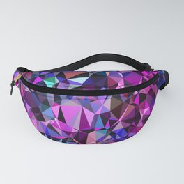 geometric triangle polygon pattern abstract in pink blue black Fanny Pack