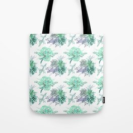 Succulents Mint Green Lavender Lilac Violet Pattern Tote Bag