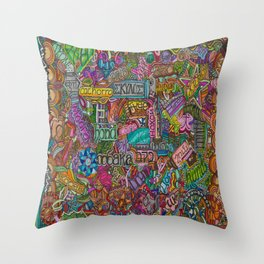 Dog 2 in many languages Throw Pillow