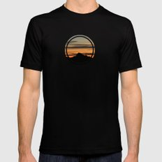 Dawn On The Rock Black Mens Fitted Tee LARGE