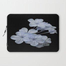 Pale Blue Plumbago Isolated on Black Background Laptop Sleeve