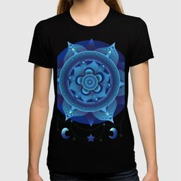 Blue monochromatic mandala dream catcher T-shirt
