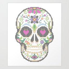 Create a Real Stitchery - Pixel Art - Day of the Dead, Cinco de Mayo, Calavera, Dia de los Muertos Art Print