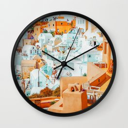 Santorini Vacay #photography #greece #travel Wall Clock