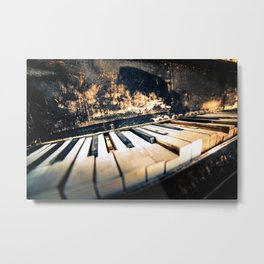 Broken grunge old piano keys close up Metal Print