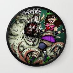 Roller Derby Girl Fighting Monster Wall Clock