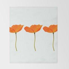 Three Orange Poppy Flowers White Background #decor #society6 #buyart Throw Blanket