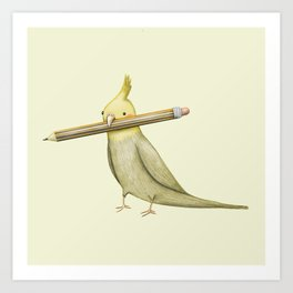 Cockatiel & Pencil Art Print