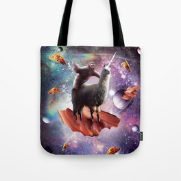 Space Sloth Riding Llama Unicorn - Bacon & Taco Tote Bag