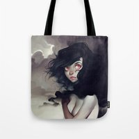 nudes Tote Bags featuring Dark Clouds by loish