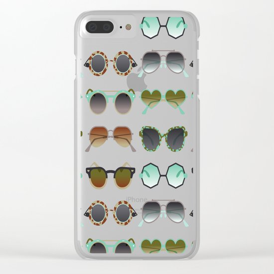Sunglasses Collection – Mint & Tan Palette Clear iPhone Case