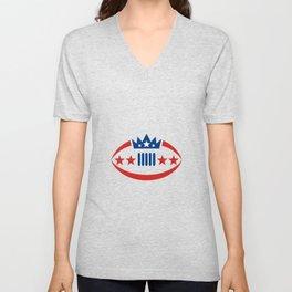 American Football Ball Crown Star Icon Unisex V-Neck