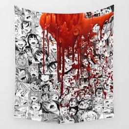 Ahegao Hentai Manga Anime B&W Girls Collage Halloween Wall Tapestry