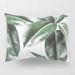 Tropical Leaves Pattern | Dark Green Leaves Photography Pillow Sham