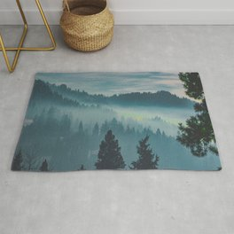 Misty Blue Watercolor Mountains Pine Trees Silhouette Minimalist Monochromatic Photo Rug