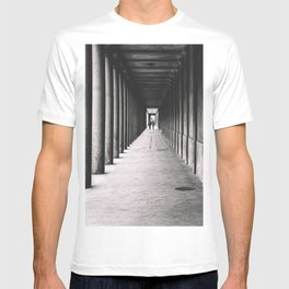 Arcade with columns in Copenhagen, architecture black and white photography T-shirt