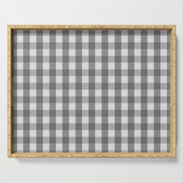 Classic Gingham Pattern Grey Serving Tray