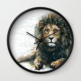 Lion watercolor painting Wall Clock