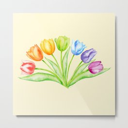 Rainbow Tulips, Flowers with Yellow Background Metal Print