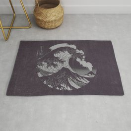 The Great Wave off Kanagawa Black and White Rug