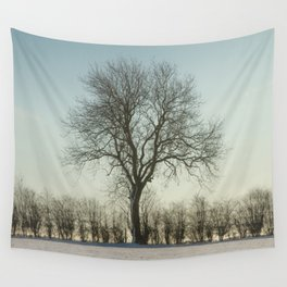 Winter tree in the low sun Wall Tapestry