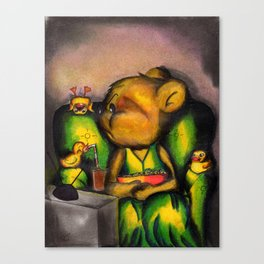 Crazy yellow rubber duck, Canvas Print