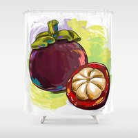 vietnam Shower Curtains featuring Vietnam Mangosteen by Vietnam T-shirt Project