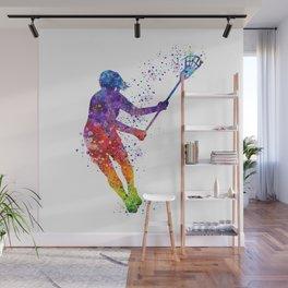 Lacrosse Girl Colorful Watercolor Sports Art Gift Wall Mural