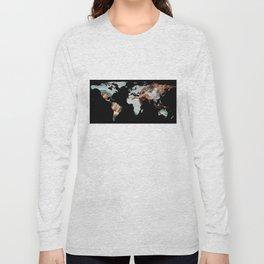 World Map Silhouette - The Creation of Adam Long Sleeve T-shirt