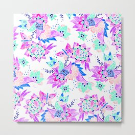Modern spring pink purple floral watercolor butterfly pattern illustration Metal Print