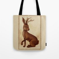 jackalope Tote Bags featuring Jackalope by Sarah DC