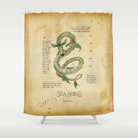sea horse Shower Curtains featuring Sea Horse by Laurence Andrew Page Illustrator