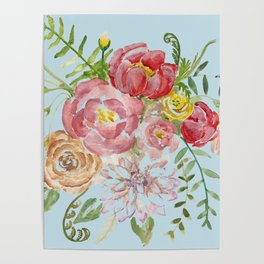 Bouquet of Watercolor on Blue Background Poster