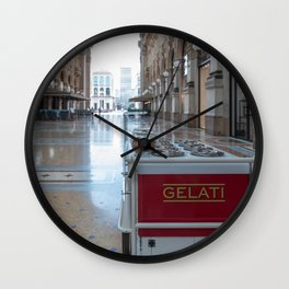 Ice cream cart in a historic gallery in the city of Milan Wall Clock