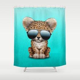 Cute Baby Leopard Wearing Sunglasses Shower Curtain