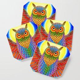 Colorful Rainbow Owl Coaster
