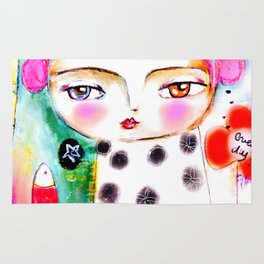 Dream a bit...every day! pink hair girl fish flowers Rug