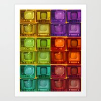 friends tv Art Prints featuring Coulored Televisions by PrinzPhotographie