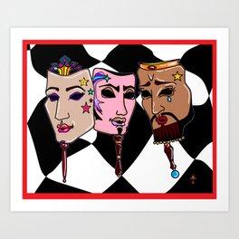 Masquerade in Zusa Harlequin background Art Print