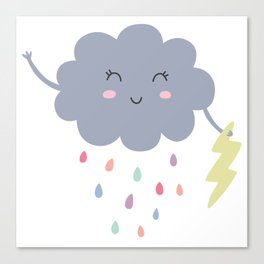 happy little rain cloud Canvas Print