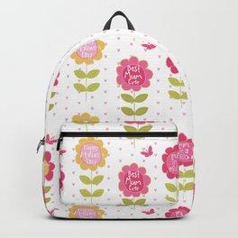 Modern pink orange floral vector best mum typography Backpack