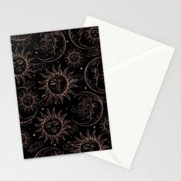 Black Rose Gold Celestial Vintage Sun Moon Stationery Cards