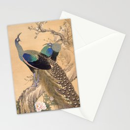 A Pair of Peacocks in Spring - Japanese Painting Stationery Cards