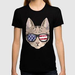 Patriotic Savannah Cat Kitty Merica American Flag T-shirt