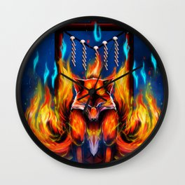 9 Tails Fire Fox Wall Clock