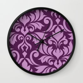 Flourish Damask Art I Pink on Plum Wall Clock